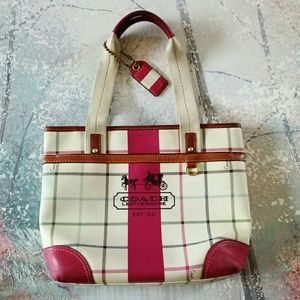 Coach heritage tattersall plaid leather tote